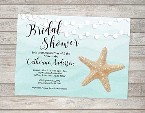 Amazon beach bridal shower invitation starfish and string of beach bridal shower invitation starfish and string of lights invitation ocean bridal shower invites filmwisefo