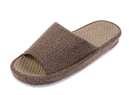Bronze Times (TM) Unisex Cozy Tatami Indoor Cotton Flax House Slippers (Brown)