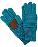 C.C Unisex Cable Knit Winter Warm Anti-Slip Touchscreen Texting Gloves, Teal Metallic