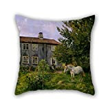 bestseason 20 x 20 inches / 50 by 50 cm oil painting Gerhard Munthe - At the Farm, Ulvin pillowcover,twice sides is fit for boys,couch,chair,bedroom,coffee house,outdoor