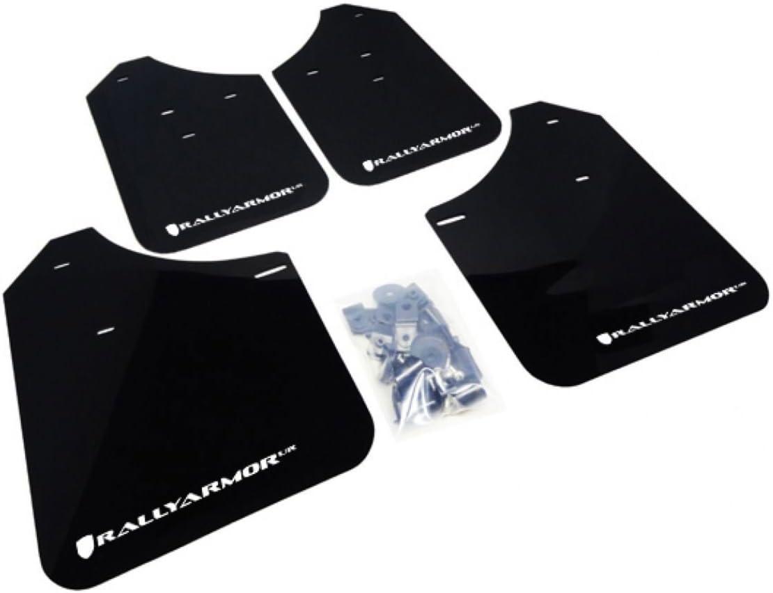Rally Armor MF1-UR-BLK//GRY Urethane Rally Mud Flap Set Black w//Grey Logo