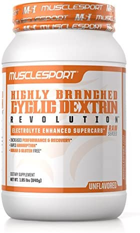 Musclesport Highly Branch Cyclic Dextrin UNFLAVORED , Electrolyte Enhanced Super Carb, Performance Recovery, Rapid Gastric Absorption, Muscle Pumps, Hydration, Sugar Gluten Free