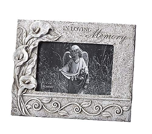 Roman Inc. Calla Lily Floral Memorial Picture Frame Holds a 4x6 Photo 12120 ()