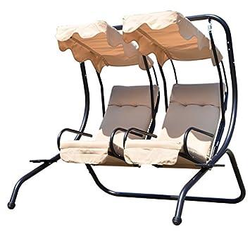 Balancelle balancoire fauteuil de jardin en acier 2 place avec ...
