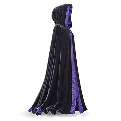 Simlehouse Womens Black Velet Winter Long Cloak Wedding Bridal Capes with Hood