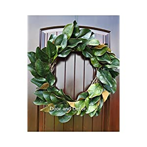 Handmade Magnolia Leaf Wreath for Front Door or Interior Home Decor in Multiple Sizes Farmhouse Style 111
