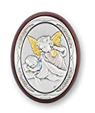 Guardian Angel Watching Over Baby Sterling Silver Plaque