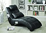 Coaster Modern Black Upholstered Living Room Chaise with Lumbar Pillow and Bluetooth