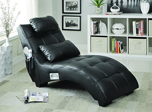 Coaster Home Furnishings Upholstered Chaise with Lumbar Pillow and Bluetooth Black