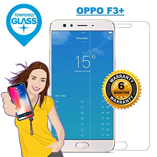 iONiQ OPPO F3 PLUS / F3+ Tempered Glass Screen Protector Guard with Installation Kit