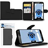 Black Motorola Moto X Play 2015 Case Durable PU Leather Book Style Wallet Cover with Credit / Business Card Holder and Horizontal Viewing Stand