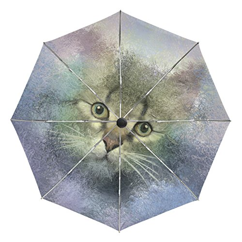 BAIHUISHOP Abstract Portrait Of Cat Oil Painting Windproof Rain Umbrellas Auto Open Close 3 Folding Strong Durable Compact Travel Umbrella Uv Protection Portable Lightweight Easy Carrying - Wholesale Abstract Paintings