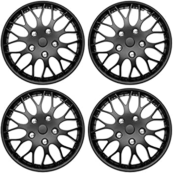 15-Inches Matte Black Hubcaps Wheel Cover Pop-On TuningPros WSC3-721B15 4pcs Set Snap-On Type
