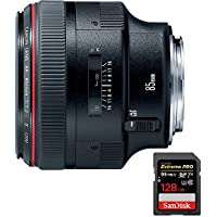 Canon EF 85mm F/1.2L II USM Telephoto Lens (1056B002) with Sandisk Extreme PRO SDXC 128GB UHS-1 Memory Card, Up to 95/90MB/s Read/Write Speed