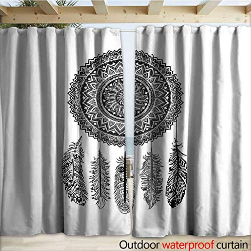 (Feather Waterproof Sliding Door Curtains Ethnic Dream Catcher with Blooming Foliage Leaves with Hanging Aztec Quills W108 x L96 Black and White)
