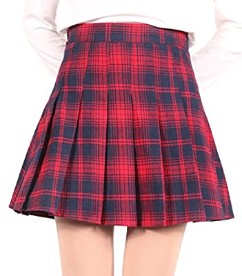 chouyatou Women's High Waist Plaid Flannel Flared Skater Skirt with Zipper Closure