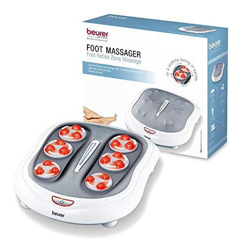 Beurer Shiatsu Foot Massager 18 Rotating Massage Heads, Relax Sore & Tired Feet with Deep Tissue, Heat Function, FM60