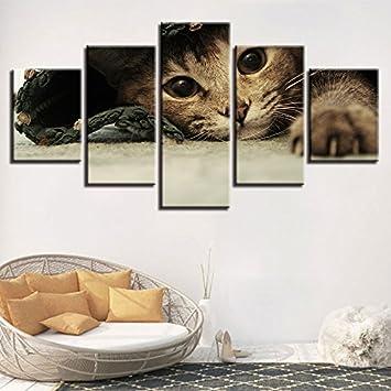 Moderno Carteles Marco Modular Lienzo Pintura 5 Piezas Animales Preciosos Gatos Cuadros Decoración Arte de la Pared Sala de Estar Paisaje Impresiones, ...