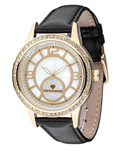 Yves Camani Rouen Women's Wrist Watch Quartz Analog Dial Mother Of Pearl Gold Plated Stainless Steel Casing & Black Leather Strap