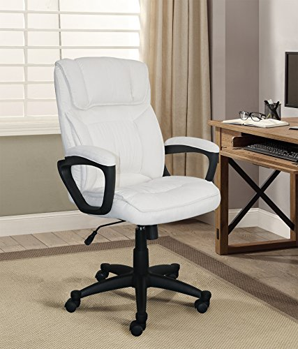Serta Style Hannah I Office Chair, Microfiber, Ivory (Fabric White Chair Office)