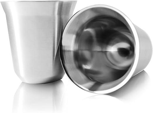 Amazon.com: Tombert - Juego de 2 tazas de café de acero ...