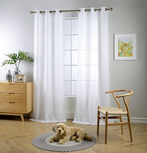 Miuco White Sheer Curtains Poly Linen Textured Solid Grommet Curtains 84 Inches Long for Living Room 2 Panels (2 x 37 Wide x 84
