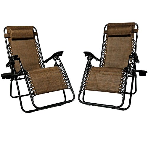 Sunnydaze Outdoor Zero Gravity Lounge Chair with Pillow and Cup Holder, Folding Patio Lawn Recliner, Set of 2, Dark - Chair Lawn Folding