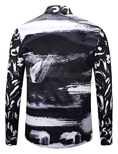Stampa Barocco b8 Elegante Lussuosa Camicia A Maniche Y1792 Pizoff Lunghe Uomo twpUEx
