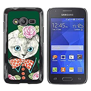 TopCaseStore / la caja del caucho duro de la cubierta de protección de la piel - Roses Green Cute Bowtie - Samsung Galaxy Ace 4 G313 SM-G313F