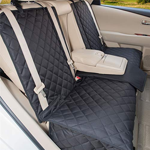 YESYEES Waterproof Dog Car Seat Covers Pet Seat Cover Nonslip Bench Seat Cover Compatible for Middle Seat Belt and Armrest Fits Most Cars, Trucks and SUVs(Black) (Covers Car Seat Clearance)