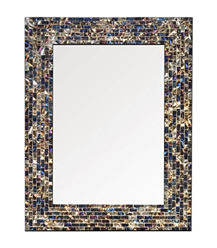 Accent Glass Wall Tile - Multi-Colored & Gold, Luxe Mosaic Glass Framed Wall Mirror, Decorative Embossed Mosaic Rectangular Vanity Mirror/Accent Mirror (18