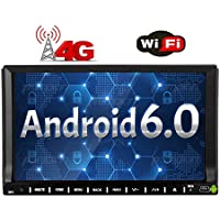 4G Dongle + 7 inch Android 6.0 Car Stereo Quad-core Touch Screen Head Unit Double Din Radio Auto Car Audio In dash GPS Navigation with Bluetooth WiFi Mirroring OBD DAB+ USB/SD Car DVD Player