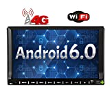 Cheap 4G Dongle + 7 inch Android 6.0 Car Stereo Quad-core Touch Screen Head Unit Double Din Radio Auto Car Audio In dash GPS Navigation with Bluetooth WiFi Mirroring OBD DAB+ USB/SD Car DVD Player