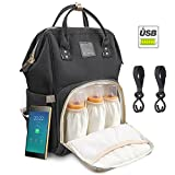 Diaper Backpack Multi-Functional Waterproof Travel Baby Diaper Bag Backpack with USB Charging Port for Baby care Large Capacity Fashion Durable Nappy Bag Gift for Mom&Dad Includes 2 stroller Hooks (DarkGrey) (Black)