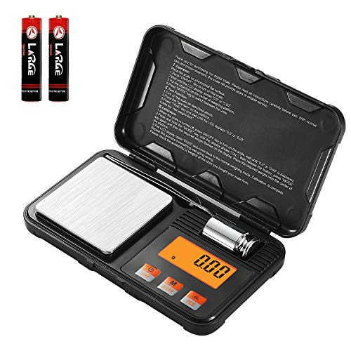 Digital Scale - LanSheng 200g / 0.01g Pocket Scale,50g calibration weight ,with tweezers and Transparent protective cover, Mini Scale, 6 Units, Tare, Auto Off, Stainless Steel (Battery - Mini Digital Scale