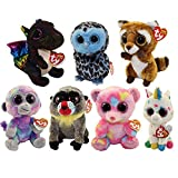 Spring 2018 Set of 7 TY Beanie Boos 6 Inches Regular Size (Zuri, Yago, Wasabi, Anora, Rusty, Harmonie, Franky) Beanie Baby Boos Plush (funchop with purchase)