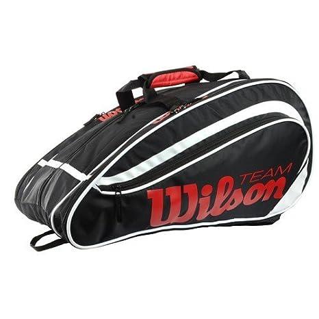 WILSON Padel Team - Raquetero, Color Negro/Blanco/Rojo, Talla NS