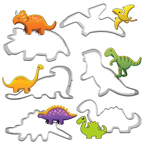 Mini Dinosaur Cookie Cutter Set - 6 Piece Stainless Steel Jurassic Dino Shaped Cookie Candy Food Molds- Triceratops, Stegosaurus, T-Rex, Brontosaurus and Pterodactyl, Spinosaurus