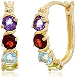 """Yellow Gold-plated Silver 2 cttw Multi-stone Hoop Earrings, 1"""""""