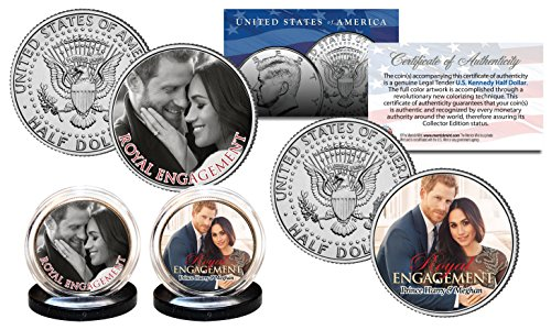 - PRINCE HARRY & MARKLE Royal Engagement OFFICIAL PHOTO JFK Half Dollar 2-Coin Set