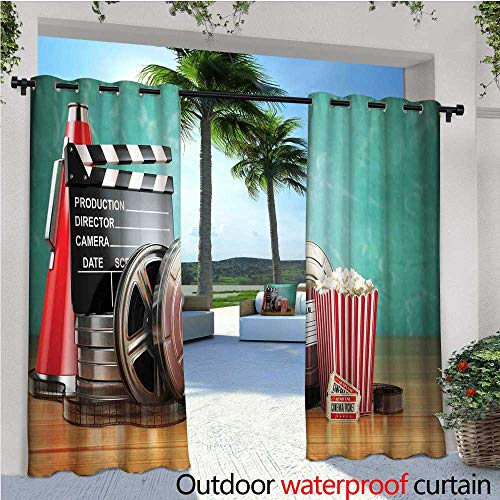 - cobeDecor Movie Theater Indoor/Outdoor Single Panel Print Window Curtain Production Theme 3D Film Reels Clapperboard Tickets Popcorn and Megaphone Silver Grommet Top Drape W72 x L108 Multicolor