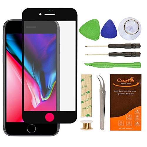 For iPhone 8 Plus 5.5 Inch Black Front Outer Lens Glass Screen Replacement Repair Kit RESON Screen Replacement Repair Tool Kit