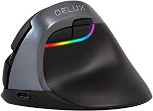 DELUX Bluetooth Vertical Mouse Rechargeable, 2.4G Small Silent Ergonomic Wireless Mouse with BT 4.0, 6 Buttons and 2400 DPI, RGB Optical Mouse for Wrist/Hand Strain, Carpal Tunnel(M618mini-Iron Grey)