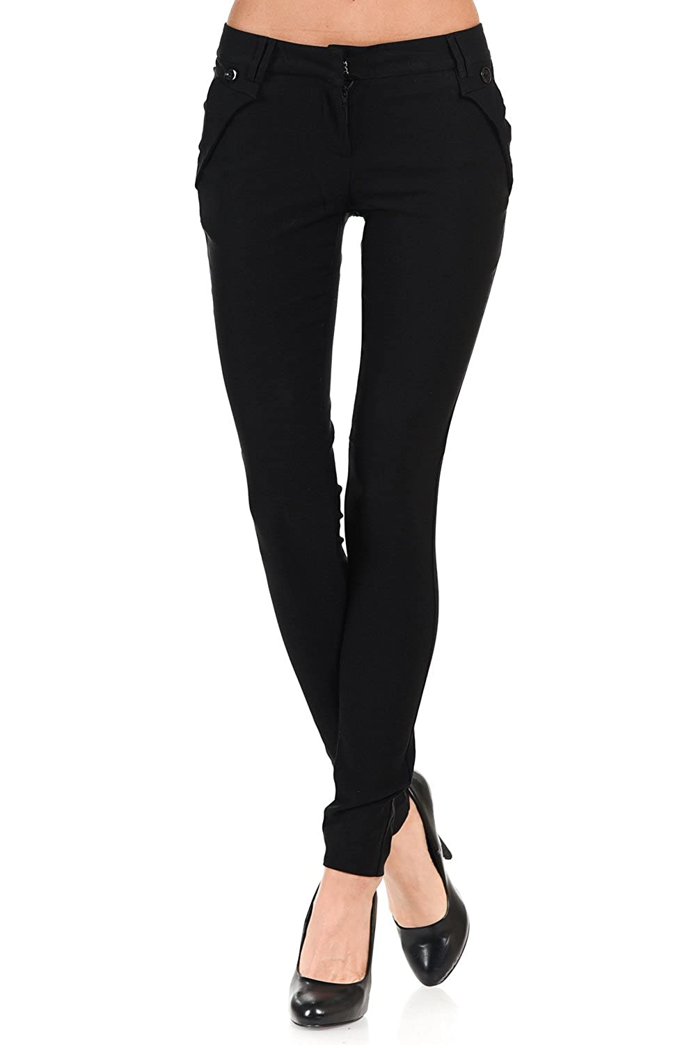 VIRGIN ONLY Women's Button Zipper Skinny Trousers Pants PTGRP_2