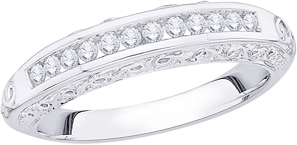 Size-10.5 1//4 cttw, G-H,I2-I3 Diamond Wedding Band in Sterling Silver