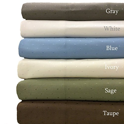 Ivory- Woven Dots 600 Thread-Count Wrinkle free Full-size Sheet Set- Cotton blend- 4pc Bed Sheet set (Deep Pocket) By sheetsnthings