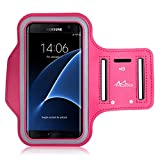 MoKo Sports Armband for Cellphones up to 6.0 Inch - Compatible with Droid Turbo 2 / iPhone 6s Plus / ASUS Zenfone 2 / Nexus 6P / Galaxy S7 / Galaxy S7 Edge, Key Holder & Card Slot, Sweat-proof,MAGENTA