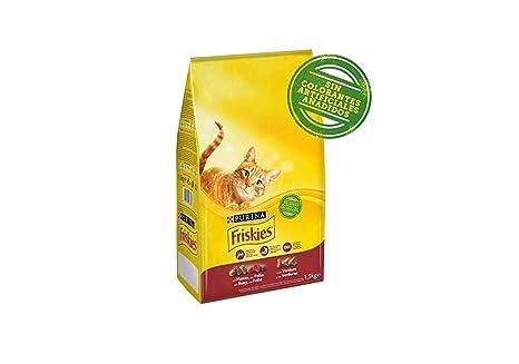 Purina Friskies Pienso para Gato Adulto Buey, Pollo y Verduras, 1 unidad, 1,5 Kg