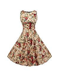 ACEVOG Vintage 1950's Floral Spring Garden Party Picnic Dress Party Cocktail Dress