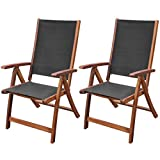 Folding Wood Lounge Chair Festnight Set of 2 Patio Folding Dining Chairs with Adjustable Reclining Backrest and Armrest Lounge Chair Acacia Wood Outdoor Garden Patio Yard Furniture